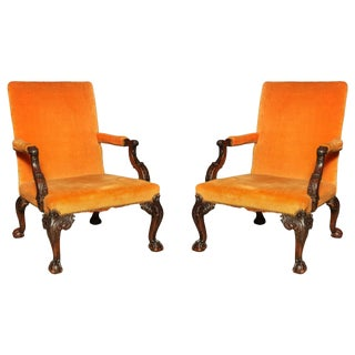 Pair of George III Gainsborough Chairs For Sale