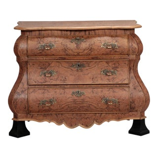 Burr Walnut Bombe Chest With Ebonised Feet