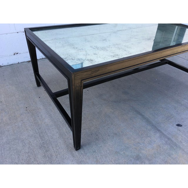 Antique Mirror Top Coffee Table With Ebonized Black Walnut Frame For Sale - Image 12 of 13