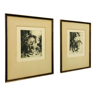 Original Vintage Block Prints in Frame - A Pair