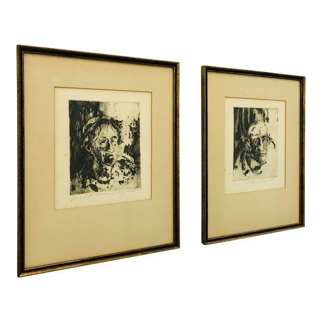 Original Vintage Block Prints in Frame - A Pair For Sale