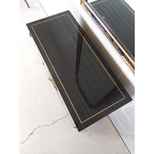 Drexel Drexel Et Cetera Black Lacquer Chinoiserie Decorated Console & Mirror For Sale - Image 4 of 12