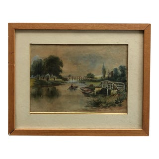 Antique Waterscape Painting British 19th C. River Scene For Sale