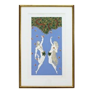 Contemporary Modern Framed Erte Adam & Eve Serigraph Signed & Numbered 169/300 For Sale