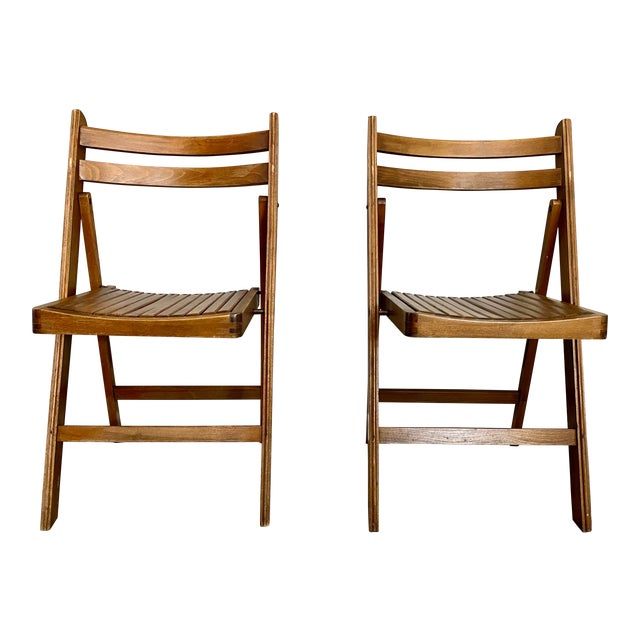 Mid Century Modern Slat Back Folding Chairs - a Pair For Sale