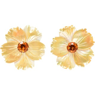 Mother-Of-Pearl Jackets Citrine Stud Gold Earrings For Sale