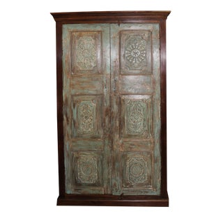 1920s Indian Teak Wood Cabinet For Sale