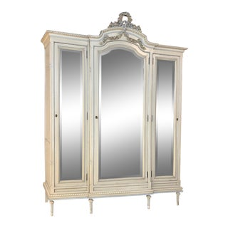 Early 20th Century Antique Italian Louis XVI Painted Armoire For Sale