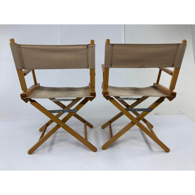 Americana Vintage Wood & Canvas Folding Director Chairs - a Pair For Sale - Image 3 of 12