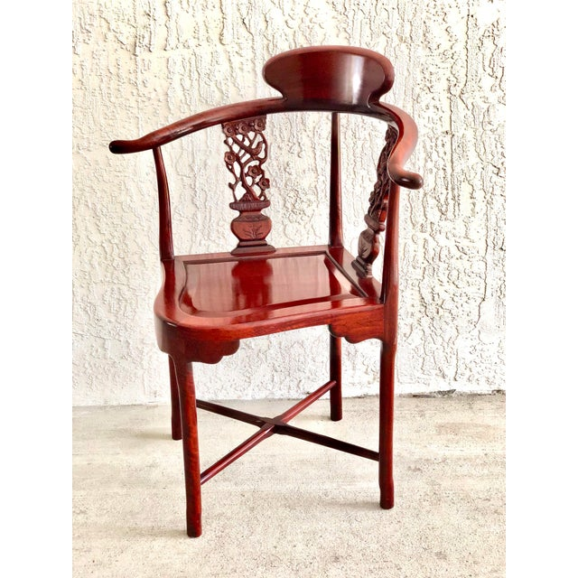 Chinoiserie Hand Carved Rosewood Oriental Corner Chair For Sale - Image 3 of 13