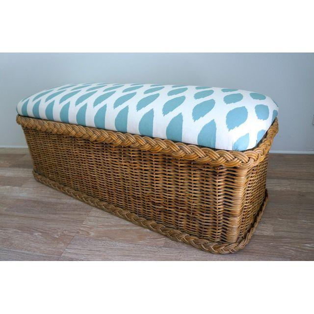 Vintage Upholstered Wicker Bench - Image 3 of 5