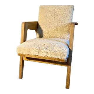 1940s Vintage Open Arm SHeepskin & Oak Chair in the Style of Rene Gabrielle