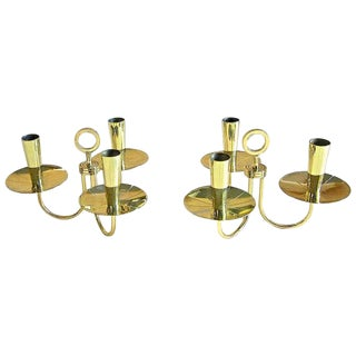 1950s Mid-Century Modern Parzinger Three-Arm Brass Candelabras - a Pair For Sale