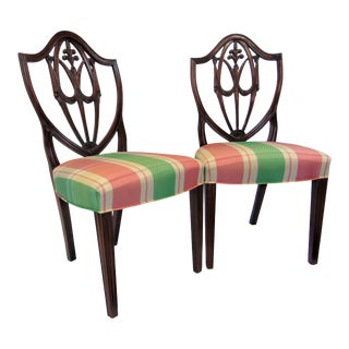 Custom Solid Mahogany Carved Shield Back Side Chairs - a Pair For Sale