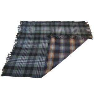 Vintage Reversible Fringed Heavy Wool Blanket