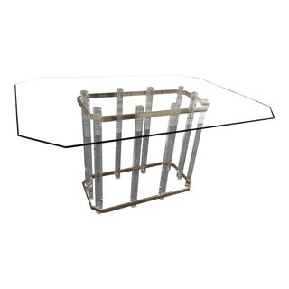 Vintage Charles Hollis Jones Lucite Brass and Glass Top Dining Table