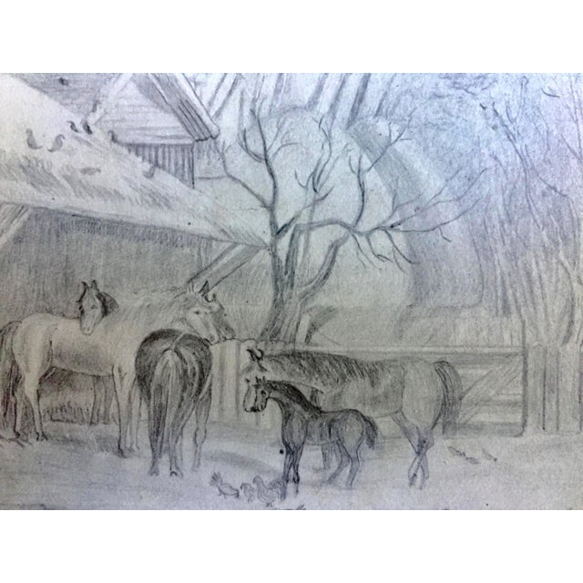 Antique Horses & Barn Yard Animals Original Drawing For Sale - Image 4 of 5