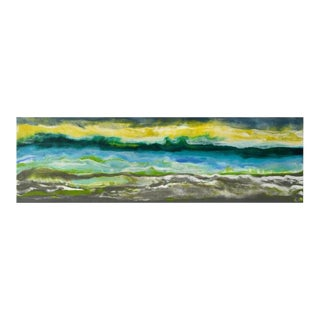 Cayo Romano Abstracted Yellow, Blue, Gray Landscape Encaustic Painting For Sale