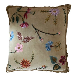 Anthropologie Velvet Floral Embroidered Pillow For Sale