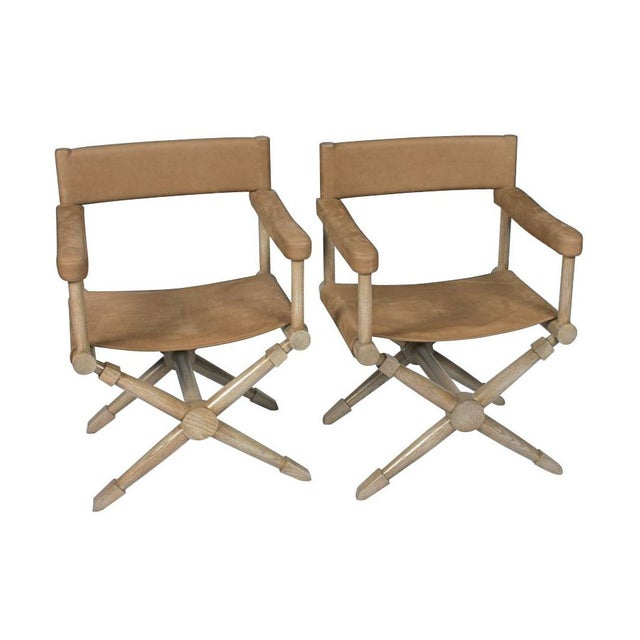Pair of Suede Director's Chairs For Sale