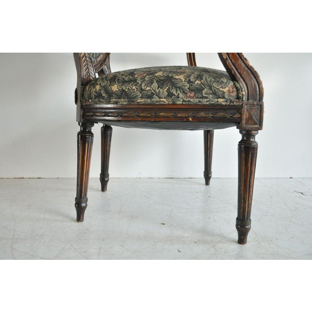 Vintage French Louis XVI Style Carved Walnut Fireside Arm Chair Fauteuil For Sale In Philadelphia - Image 6 of 11
