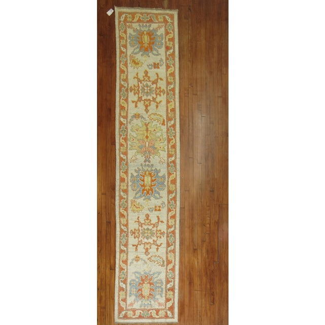 Vintage Turkish Oushak Runner - 2'9'' X 13'5'' - Image 2 of 6