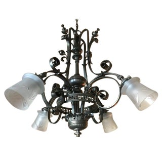 Mid-Century Brass Four Armed Chandelier For Sale