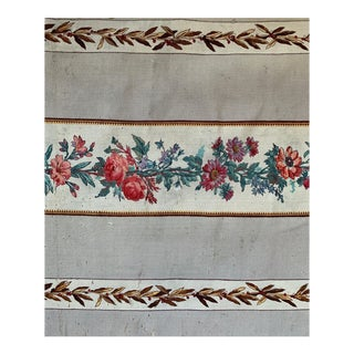 Antique French Wool Striped Floral Curtain For Sale