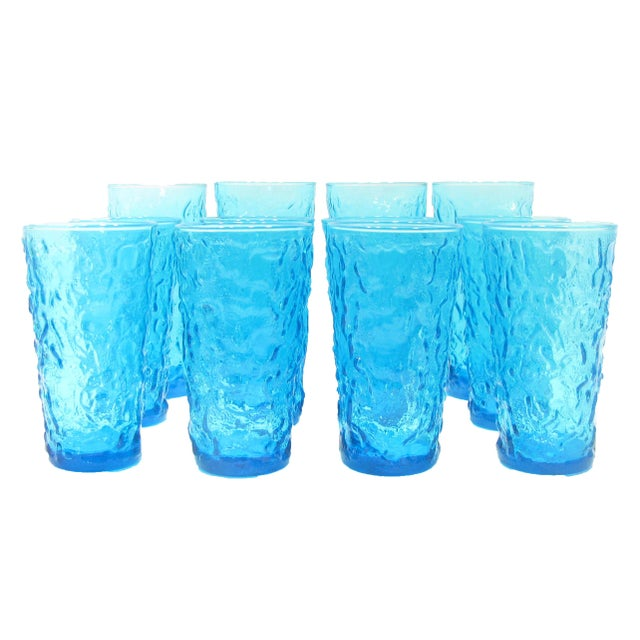 Mid-Century Blue Art Glass Barware, Set of 12 For Sale - Image 4 of 4