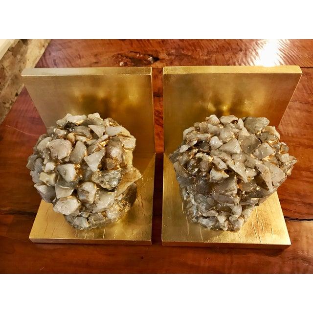 Quartz Stone Gold Leaf Bookends - A Pair - Image 4 of 9