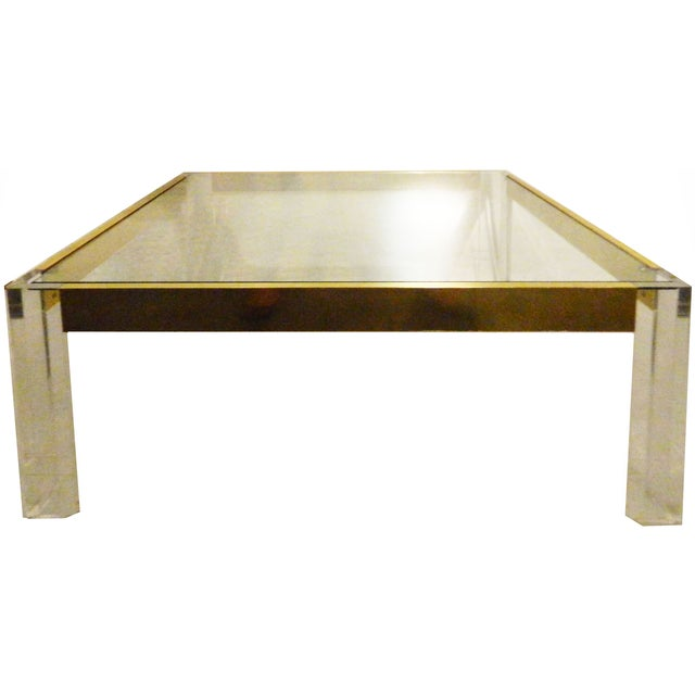 1970s Lucite & Brass Cocktail Table For Sale