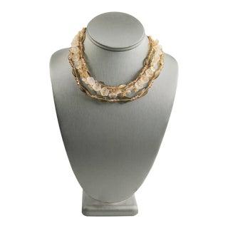 Vintage Opaline Glass Flower Necklace For Sale