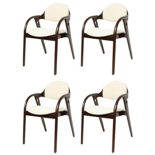 Set of Four Mid-Century Modern Dark Wood Chairs With Upholstered Seats For Sale