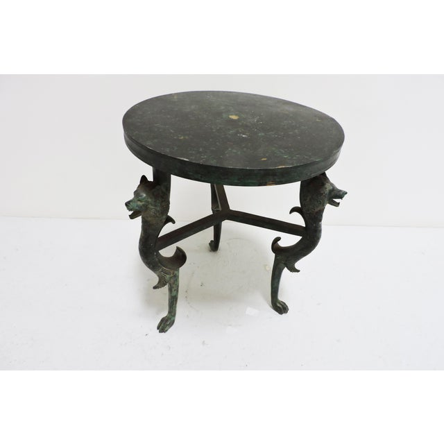 Short Bronze Table With Wolf Face Legs - Image 5 of 5