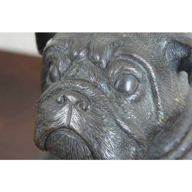 Theodore Alexander Seated British Bulldog Pug Dog Bronze Sculpture For Sale - Image 9 of 11