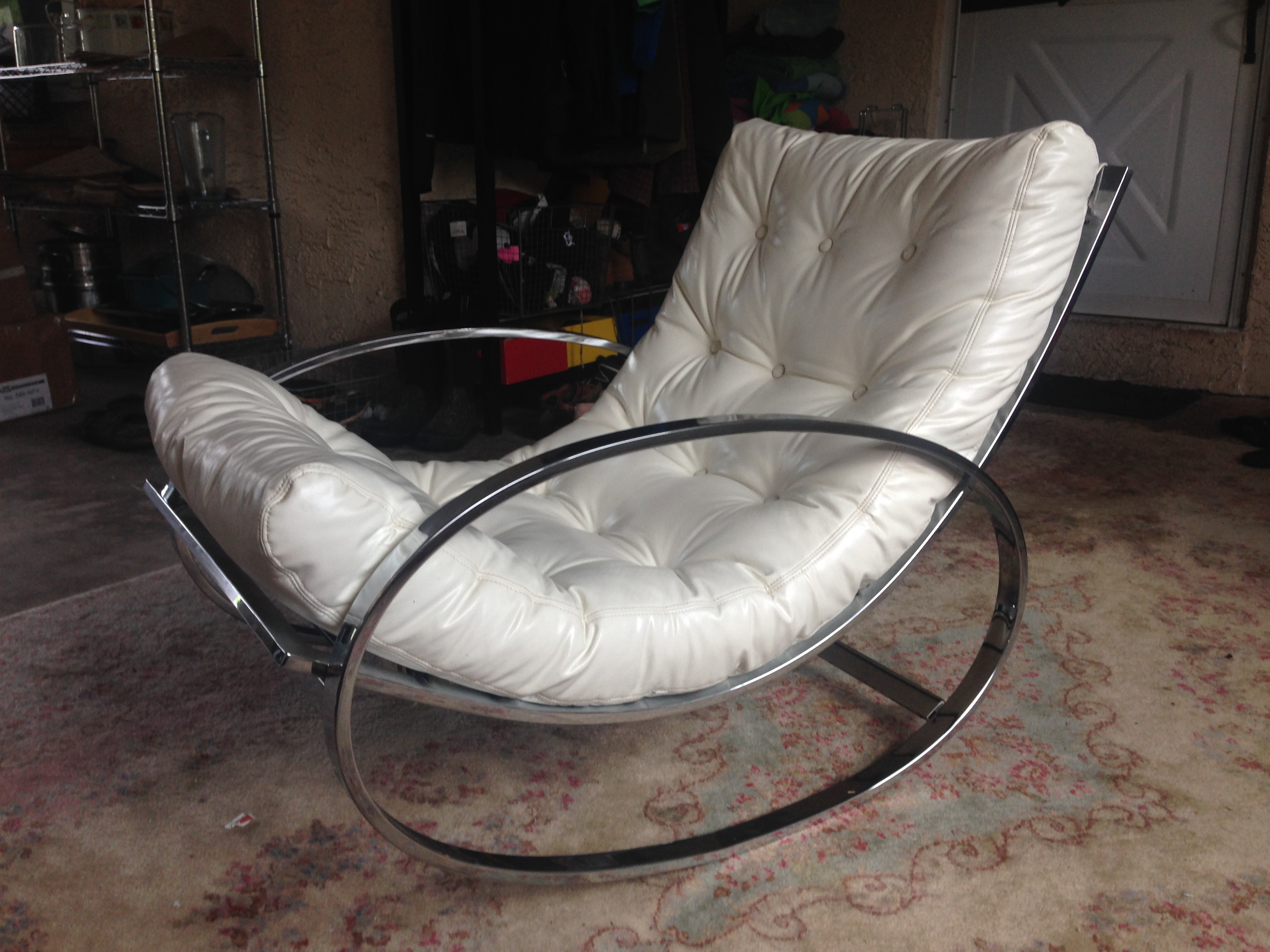 ... Tufted Rocking Chair For Sale. This Is An Authentic Early 1970u0027s Selig  Piece. Ellipsed Chrome Rocker Is In Excellent Vintage