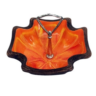 Vintage Orange Glazed Accent Dish