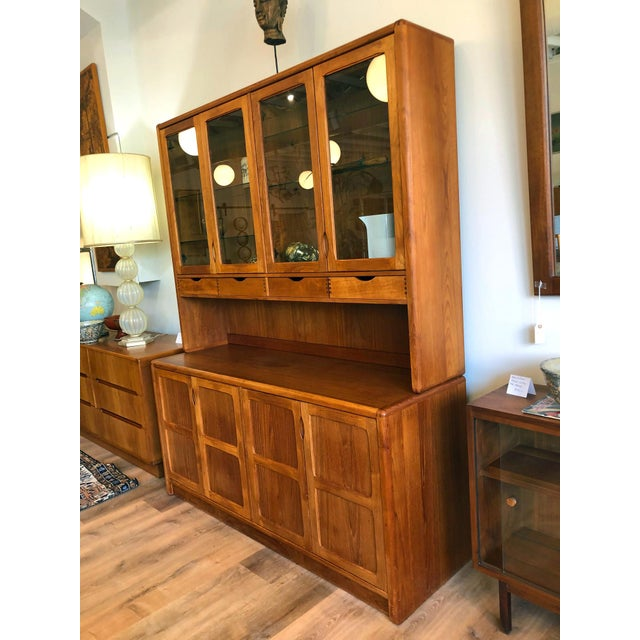 Mid-Century Modern 1970s Vintage Teak Wood Two-Piece Display Hutch For Sale - Image 3 of 10