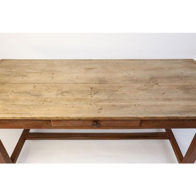 Faux-Grain Painted French Farm Table For Sale - Image 11 of 13
