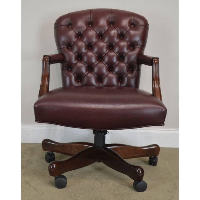 Oxblood Red Leather Tufted Chesterfield Style Executive Office Desk Chair (E) For Sale - Image 10 of 13