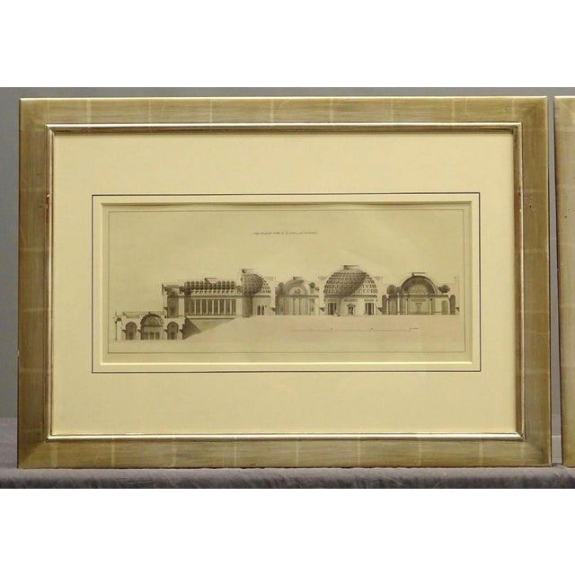 French Early 19th Century Antique French Architectural Study Framed Prints - A Pair For Sale - Image 3 of 8