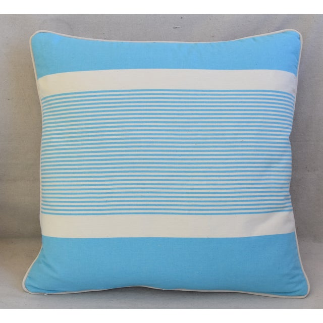 """French Blue & White Nautical Striped Feather/Down Pillows 22"""" Square - Pair For Sale - Image 4 of 13"""