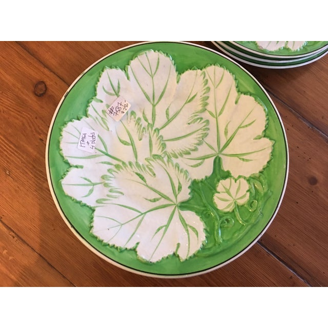 Early 20th Century Green & White Majolica Plates & Tazza - Set of 5 For Sale - Image 5 of 6