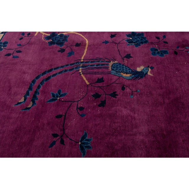 Purple Antique Purple Chinese Mandarin Wool Rug 9 Ft 9 in X 16 Ft 3 In. For Sale - Image 8 of 11