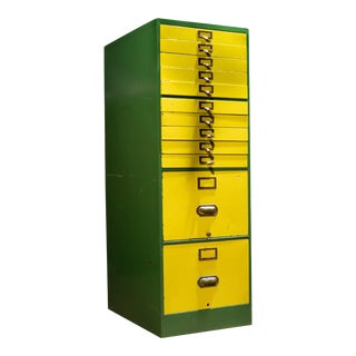 Mid Century Industrial File Cabinet in Green and Yellow For Sale