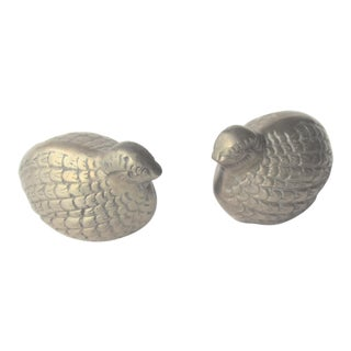 Vintage 1960's Solid Brass Quail Birds - a Pair For Sale