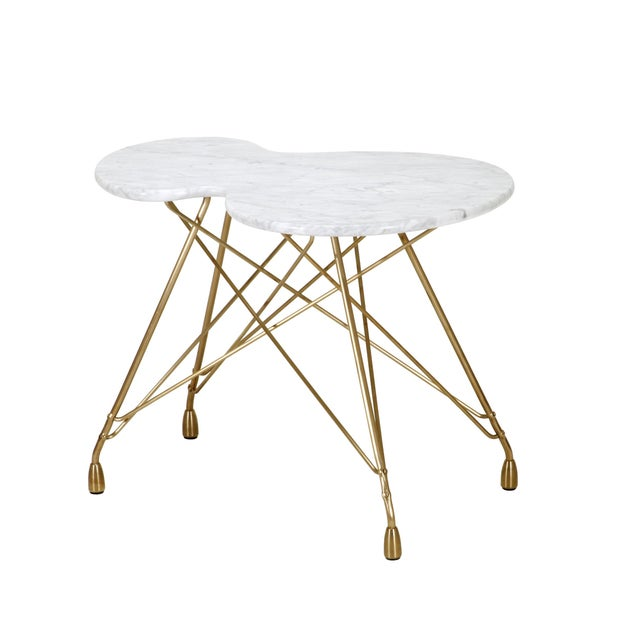 2010s Etoile Calabasse Bronze Side Table With Carrara Marble Top For Sale - Image 5 of 5