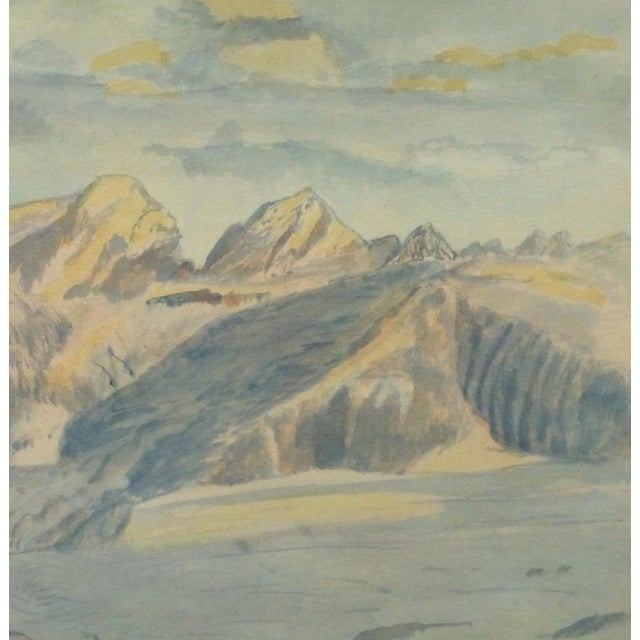 Vintage Italian Mountains Watercolor Painting,1956 - Image 3 of 4