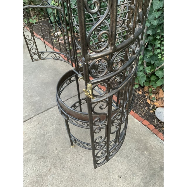 Mediterranean Maitland-Smith Copper Domed and Iron Wine Rack For Sale - Image 3 of 12