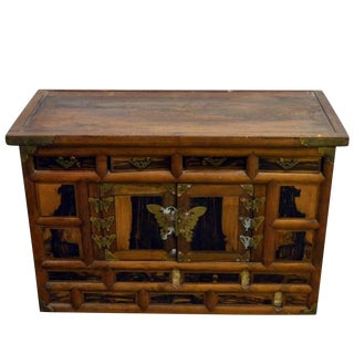 Antique Korean Chest with Butterfly Pattern Brass Hardware from the 19th Century